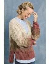 Patentstrikket sweater med dip-dye striber