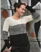 Sweater m. snoning og farveskift
